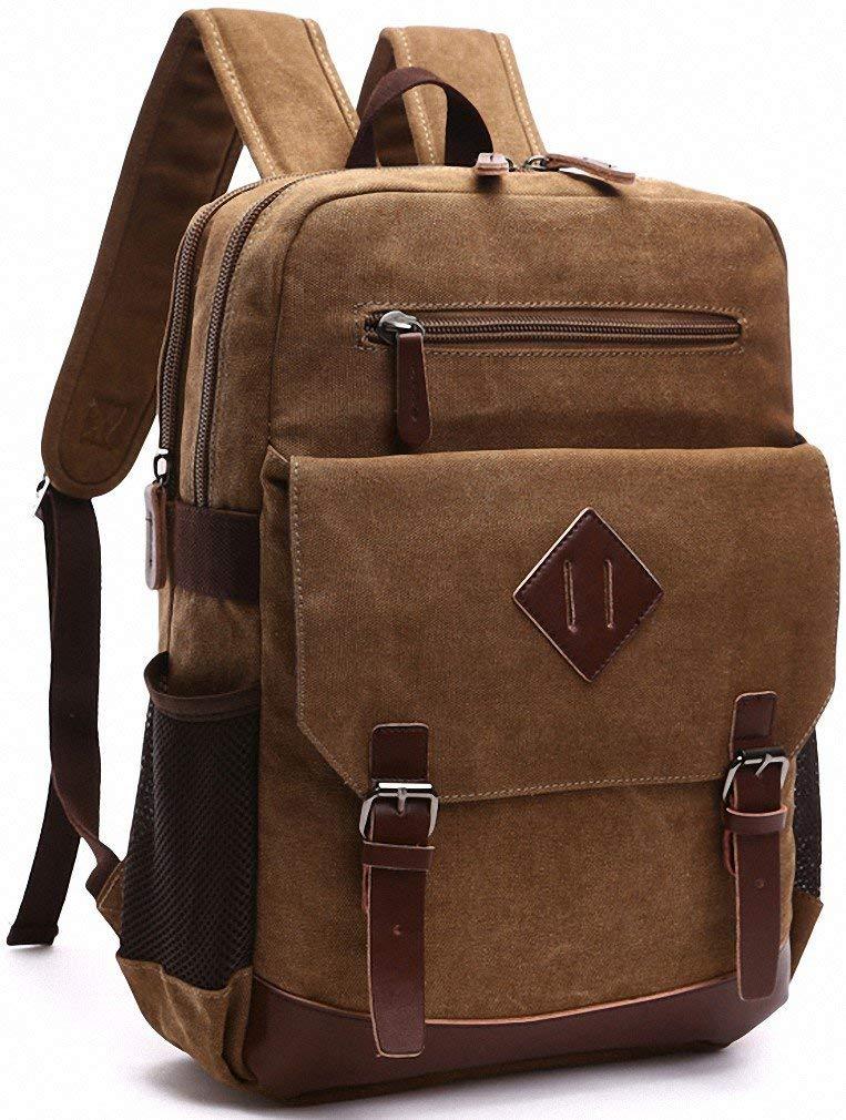 Kenox Mens Large Vintage Canvas Backpack School Laptop Bag Hiking Travel Rucksack Brown