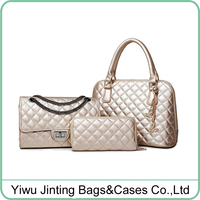 Quilted leather stylish 3 piece Tote Bag Set Shoulder Handbags Cross-body Bags With wallet purse