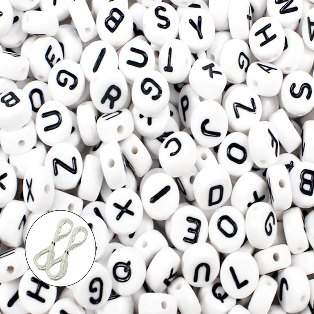 JPSOR 600pcs 4x7mm Acrylic White Round Letter Beads for Bracelets and Jewelry Making,with Thread & Pouch