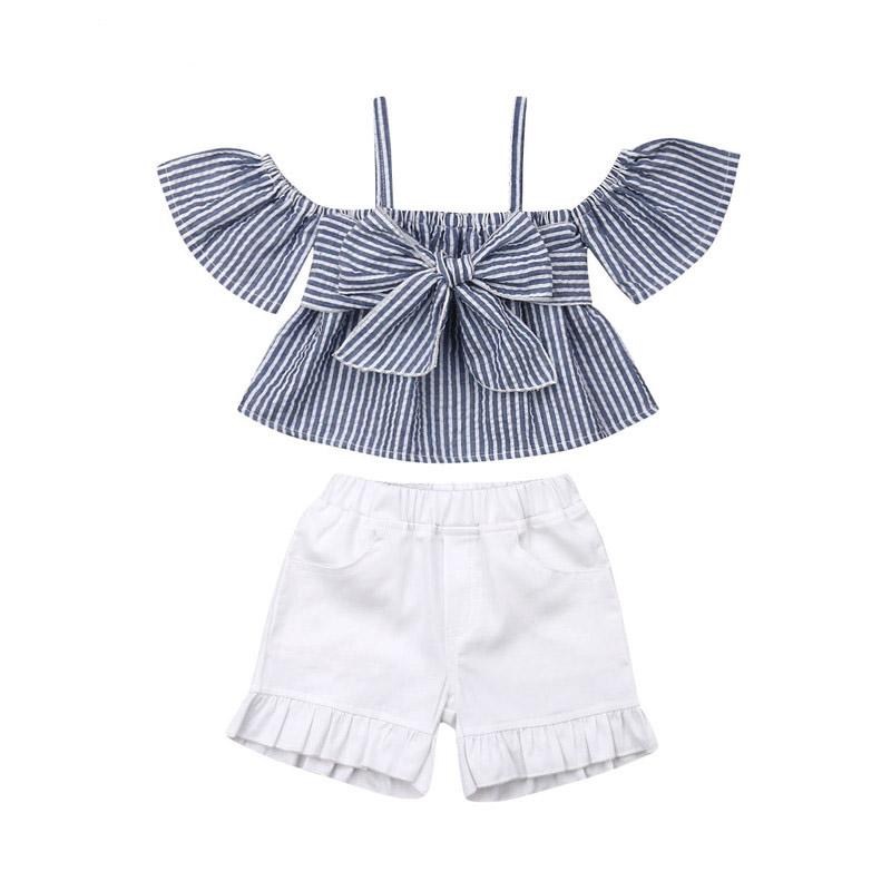 Toddler Kids Baby Girls Off shoulder Tops T-shirt+Shorts Pants 2pcs Outfits Set