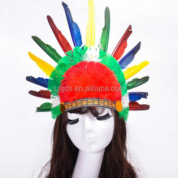 Wholesale colorful handmade Indian headdress feathers Indian chief hat  headwear for Halloween 5a65d02bdb4