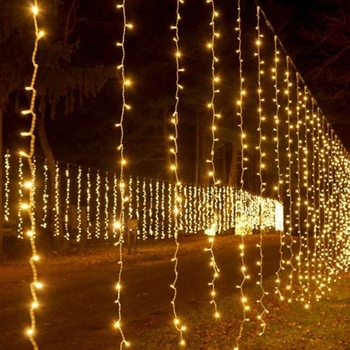 Outdoor Led Fairy Lights Wedding Connectable Christmas Waterfall Hanging Light Curtain Drops