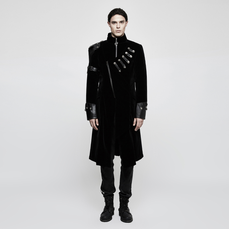 31f975bb1f8 Details about Mens Multi Zip Military Trench Black Long Victorian Army Goth  Coat Steampunk
