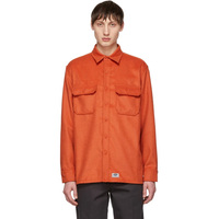 OEM men Fashion Long sleeve cotton Orange Flannel Flap pockets Shirt