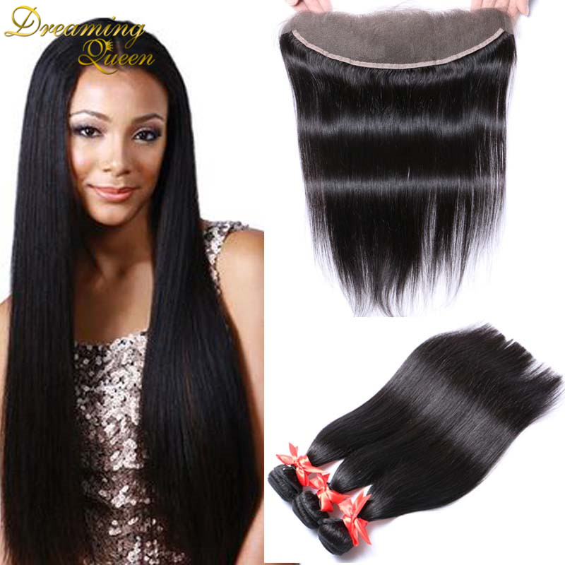 Lace Frontal Closure With Brazilian Virgin Hair Bundles Silk Straight Brazilian Virgin Hair With 13 4
