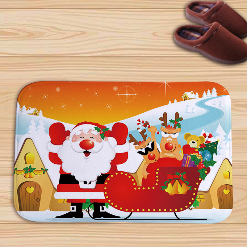 PEIYUAN Cartoon Christmas Santa Claus Christmas Tree Moon Snowman Flannel Doormat New Design Floor Mat Tapete for Bedroom