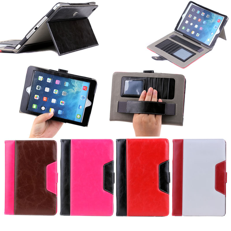 Slim folio leather case fold tablet for ipad mini 1/2/3 stand cover, for pu leather ipad case with handle