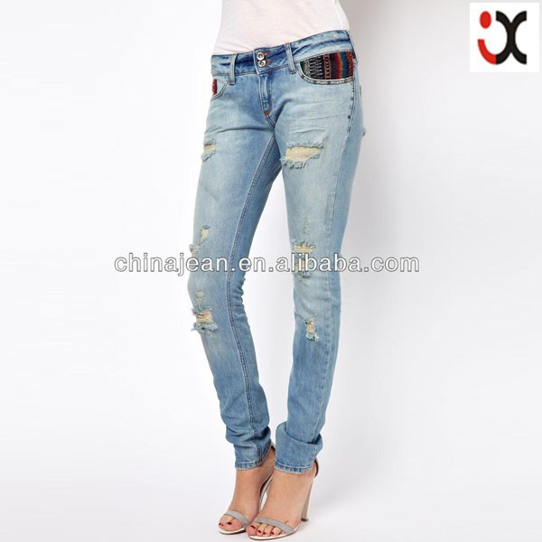 Fashion Women Ripped Jeans Designer Jeans Wholesale Silver Jeans ...