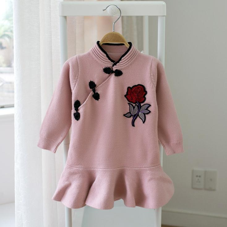 X62915A Qipao Style Knitted Cute Toddlers Girls Pullovers Sweater