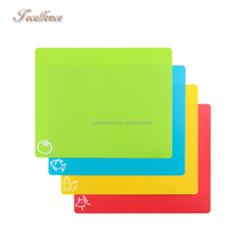 4-Piece Colour Coded Flexible Cutting Boards Set, Food Grade Plastic Kitchen Cutting Board Mats