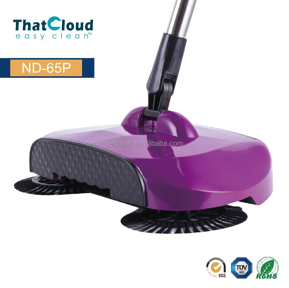 Hand push spin broom 360 degree spinning broom, hand push floor Sweeper, cordless sweeper