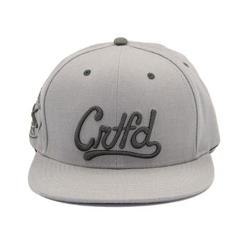 Light Grey Flat Brim 6 Panel Acrylic 3D Embroidery Custom Snapback Hats  Wholesale 48d0f379d905