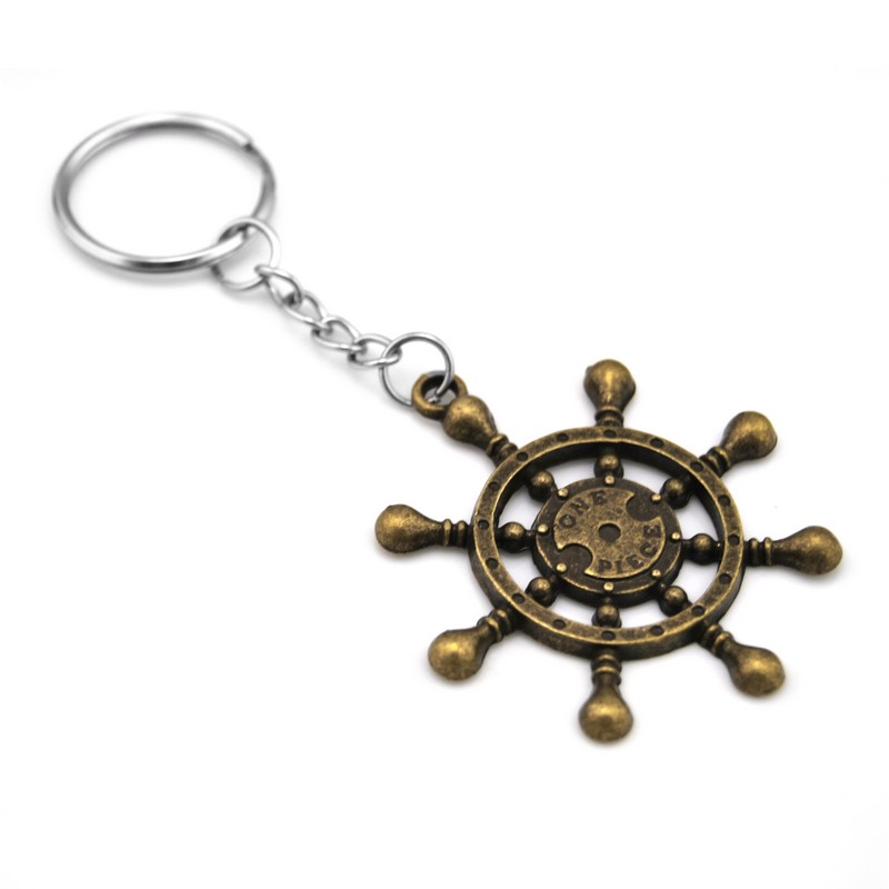 New Arrival Retro Gold Rudder Keychain Rudder Key Holder Steering Wheel Keychain