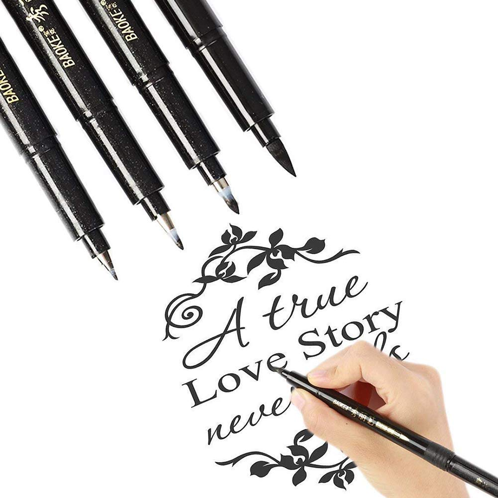Refillable Calligraphy Pen Hand Lettering Pens Brush Lettering Pens Markers for Beginners Writing Drawing - 4 Sizes Black Ink Calligraphy Pens Art Marker Set (4 Lettering Pens)