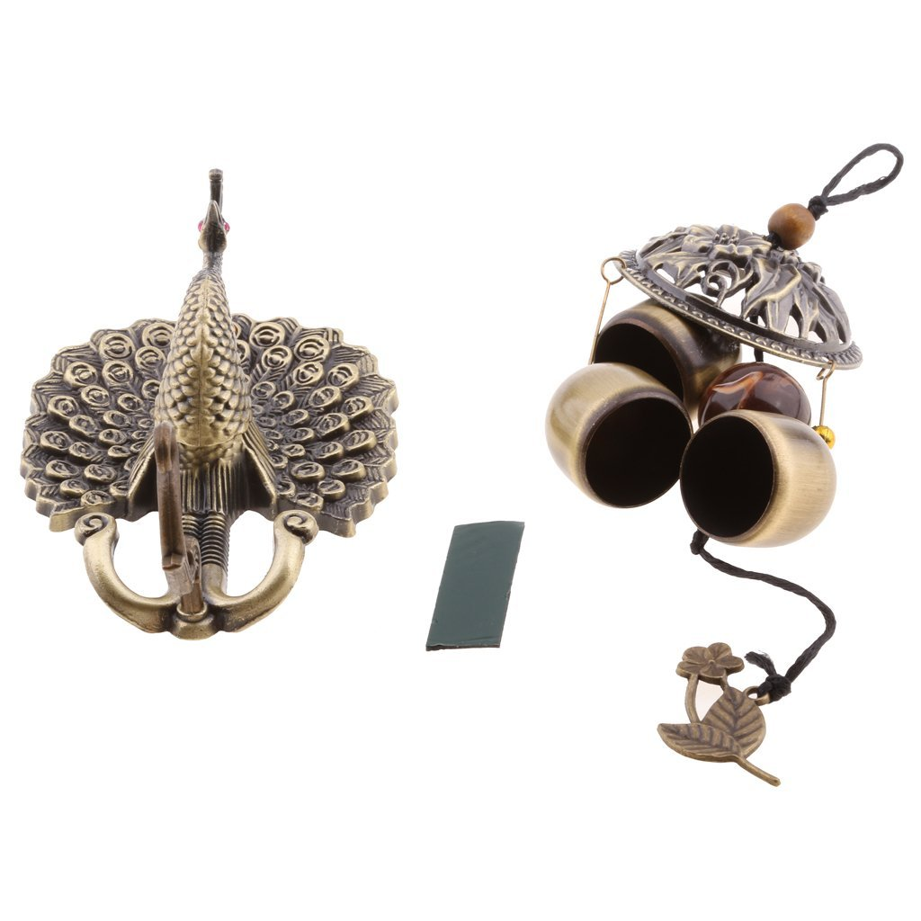 Homyl Antique Peacock Wind Chimes-Metal And Wood Hanging Sculpture And Chimes