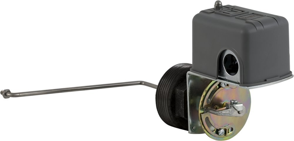 """Square D 9037 Closed-Tank Float Switch w/ Bushing for Power Circuit, Side Mount, NEMA 1, L Float Position, 90-Deg. Float Rod Angle w/ 7"""" Offset, Viton Packing, Contacts Close on Rise, No Float"""