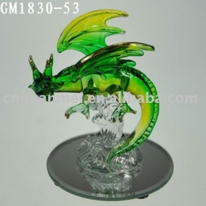 Wholesale factory outlet green glass dragon on mirror