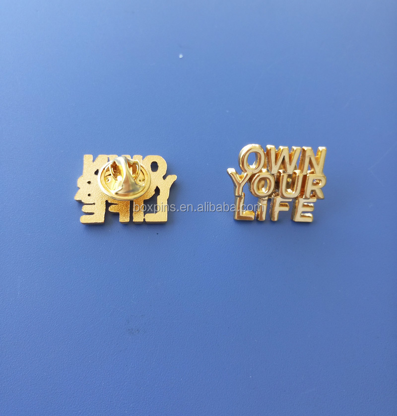 23mm Sublimation Shinny Gold Own Your Life Lapel Pins with Gift Box