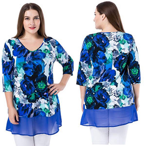 Lady Large Size Stretch Knit V Neck Blouse Fashion Plus Size Multi Printed Top Tunic With 3/4 Sleeves Contrast Chiffon Hem