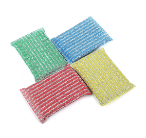 Kitchen Scrubbing Sponges Double Side Scouring Pads Pack of 4 in Assorted Colors,No-Scatch Scrub Sponges
