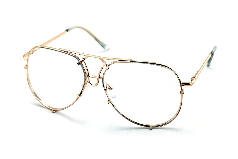 e06d1eb249 Get Quotations · V.W.E. New Large Non-Prescription Premium Aviator Clear  Lens Glasses Gold Silver Black