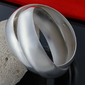 Fashion 925 sterling silver two big circle ring cross bangle bracelet for women men
