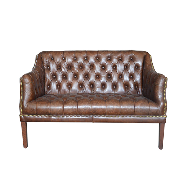 Antique Tan Leather Chesterfield Sofa