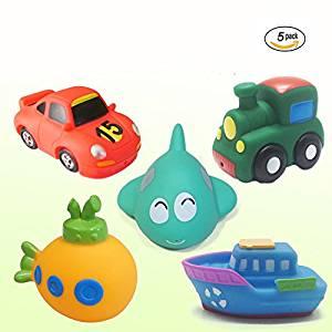 Toddler Toys, OBOSOE Squirter Squeaker Bath Toys, Rubber Transport Baby Tub Toys for Boys--Set of 5