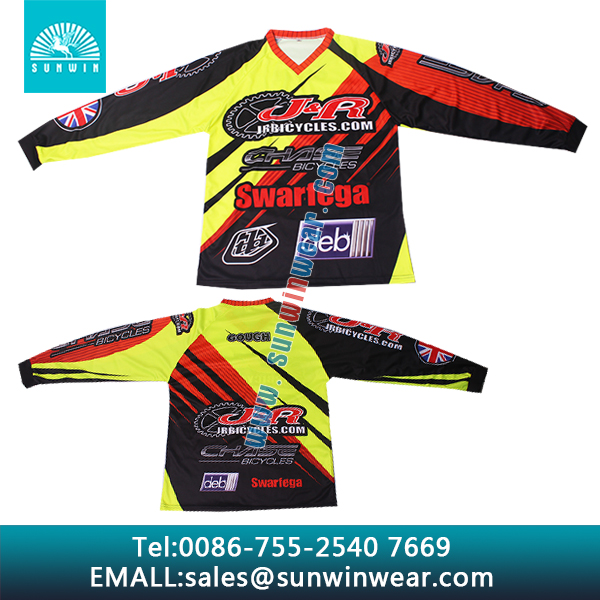 Customizable elastic BMX jersey with fluorescent color, bike & cycling & race jersey