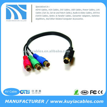 Convert 7 Pin S Video Male To 3 RCA AV Cable RGB Female And Connect