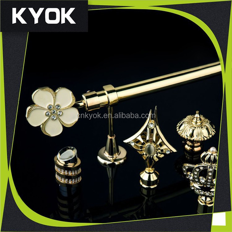2015 Muslim style bathroom decor curtain rod single, exquisite designs 25mm curtain finial good quality