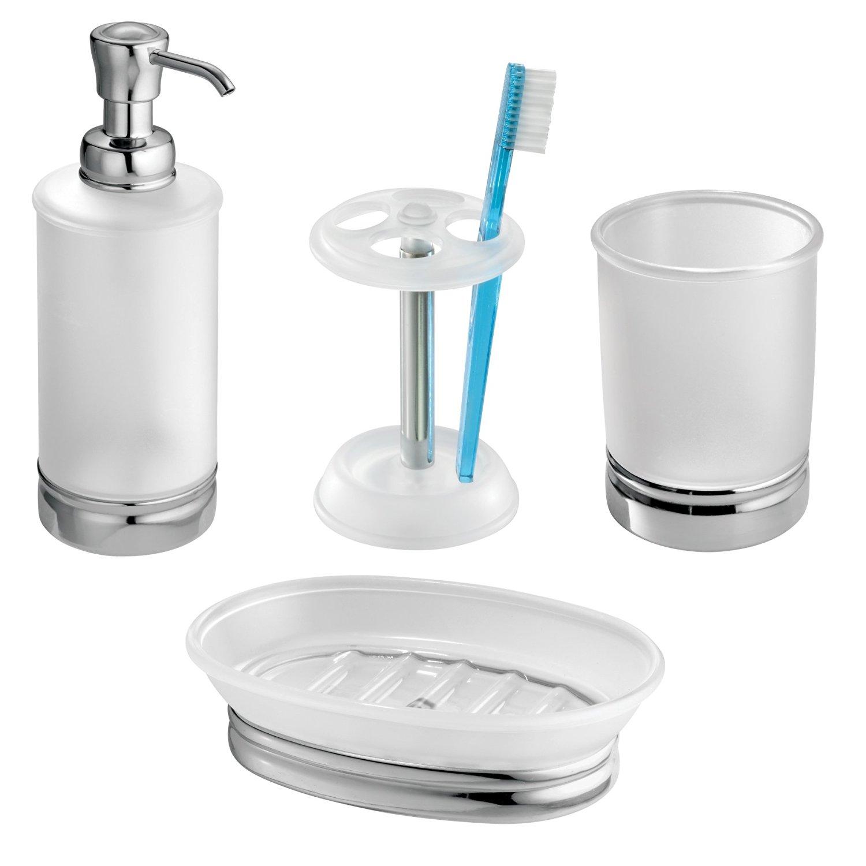 Buy InterDesign Stainless Steel Countertop Bath Accessory Set, Soap ...