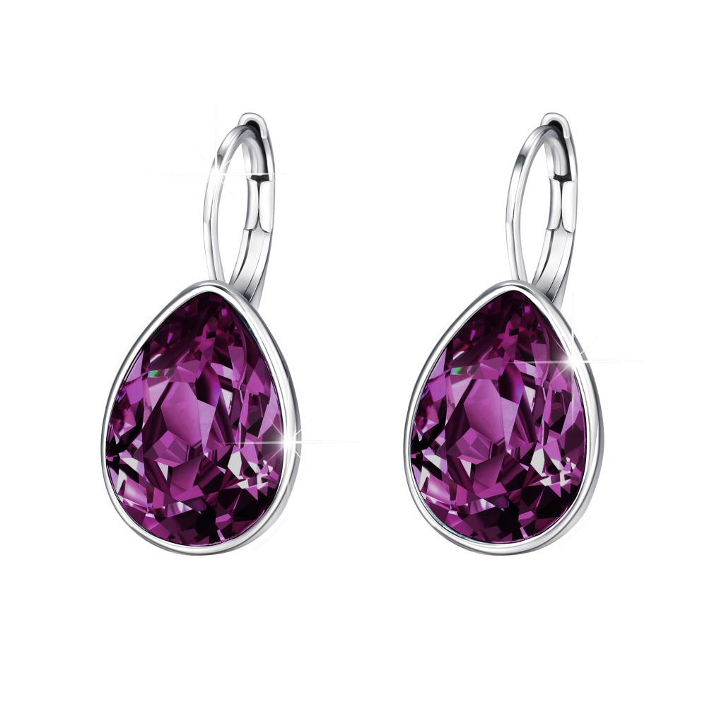 XE2108 xuping teardrop gold evening earrings crystals from Swarovski фото