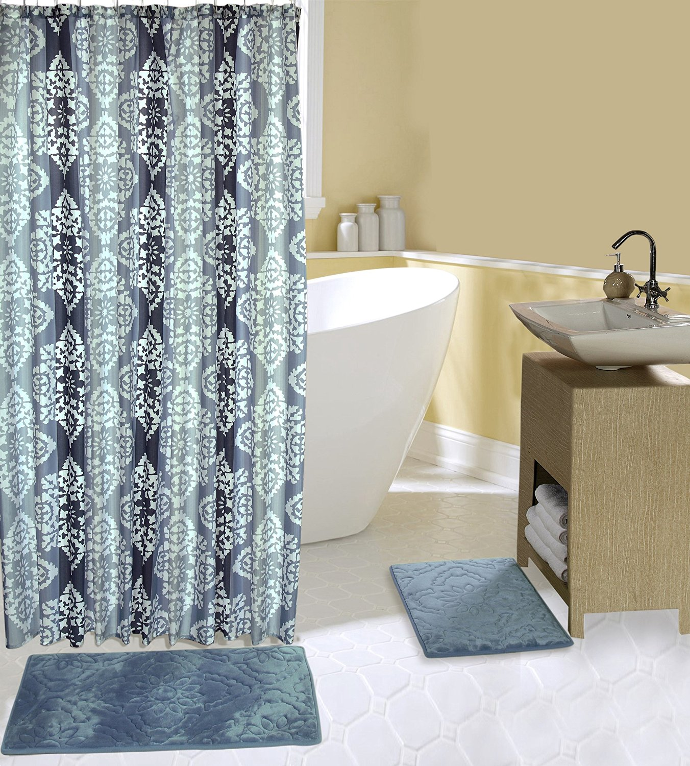 Get Quotations Complete 15 Piece Bath Set With 2 Memory Foam Mats Shower Curtain And Hooks