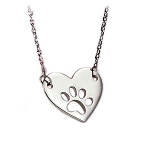 Olivia Animal Necklace Fashion Pet Lover Dog Paw Print Love Heart Charm Pendant Necklaces For Women