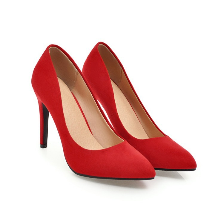 New Arrivals Red Pump Women Suede High <strong>Heels</strong>