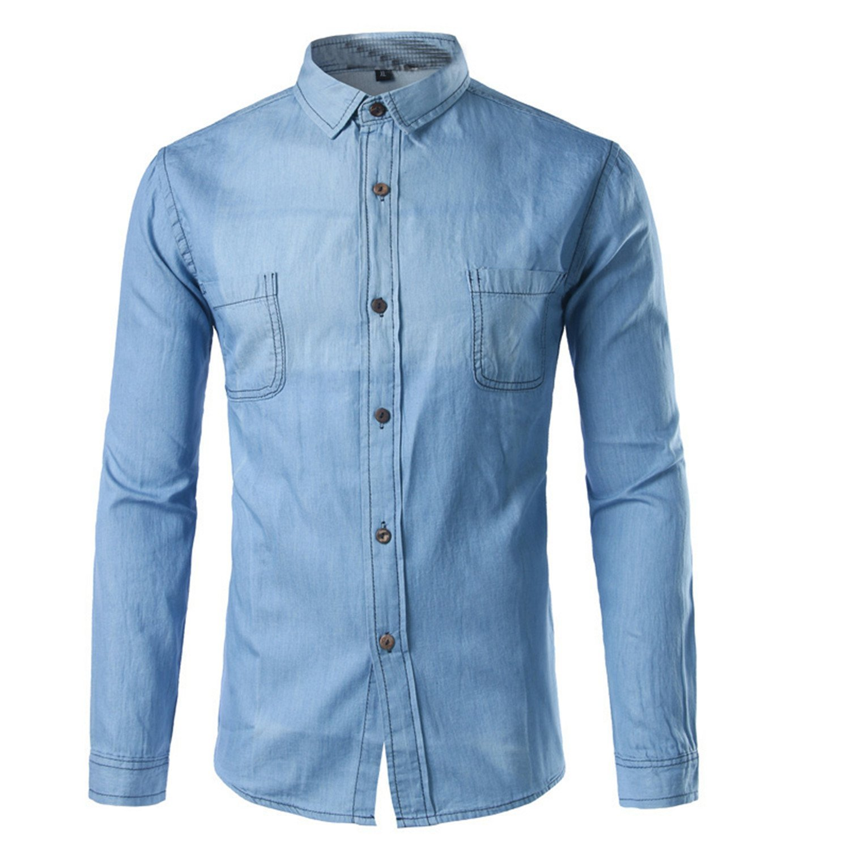 8752fc3bf2 Get Quotations · Sonder Denim Shirt Men NEW New Classic Long Sleeve Pocket Denim  Shirts Casual Slim Fit Washed