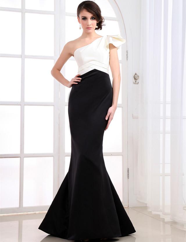 Ed023 Volantes Largo Un Hombro Vestido Formal Blanco Negro