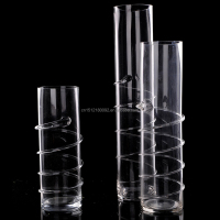 tall clear straight clear glass vase with wire/geometric glass terrarium wholesale