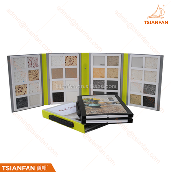 PY054-Custom plastic stone sample book with a handle sample display book