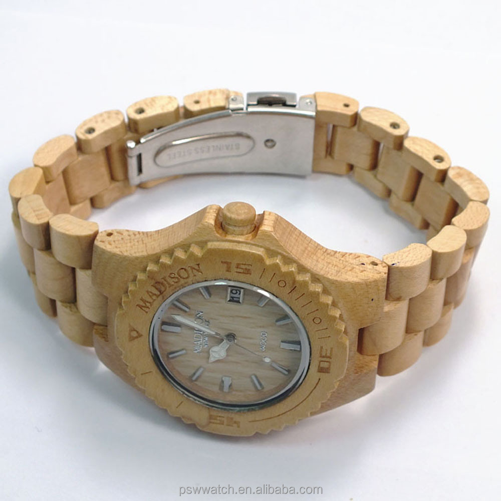 new design Japan movement wood strap bamboo wooden watches for wholesale