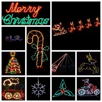 animated running led santa sleigh reindeer silhouette light for