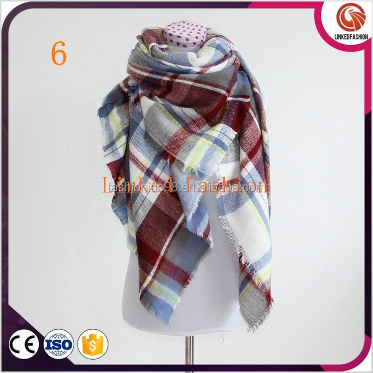 wholesale women scarves wrap plaid large oversized ladies scarfs