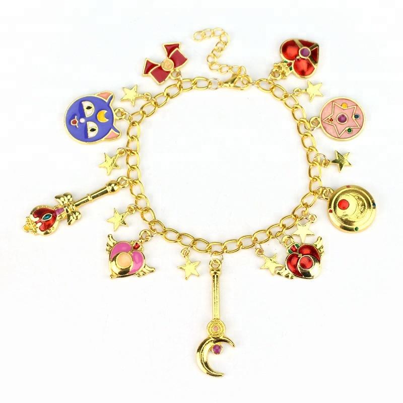 Fancy Enamel Pendant Sailor Moon Gold Chain Bracelet фото