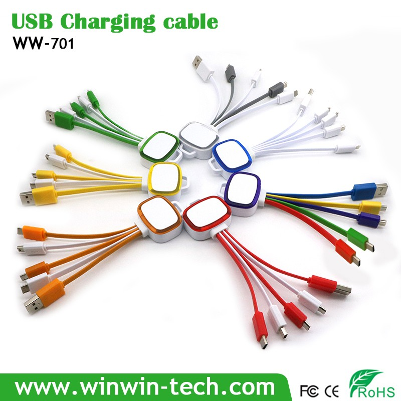 Portable colorful essential new 3 in 1 USB Cable for corporate gifts