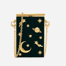 korean fashion custom gold metal ladies evening velvet frame universe star moon shoulder purse bag box clutch