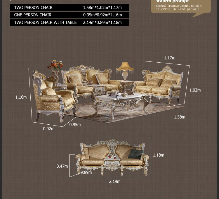 luxury classic home furniture -antique style hand carved solid wood sofa set