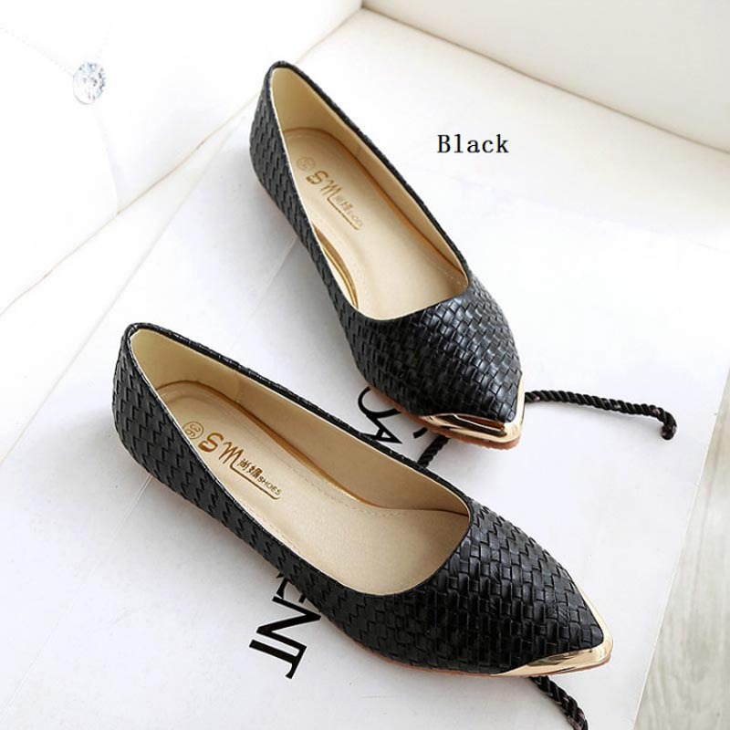 e0f582c4076 Get Quotations · New Fashion women flat shoes Sexy pointed toe black white  flats loafers casual shoes for women