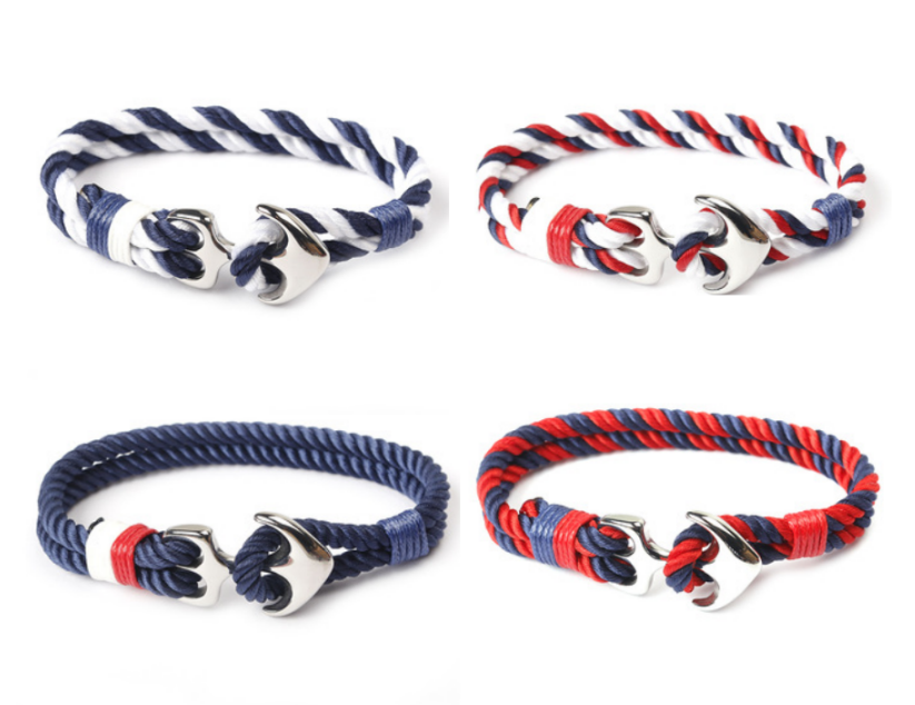 Men Charm Nautical Wristband Rope Braided Sport Hooks Multi-function Paracord Anchor Bracelet