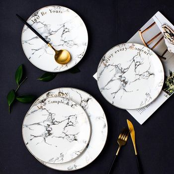 Hot selling best quality beauty appearance round ceramic marble charger plates with golden rim